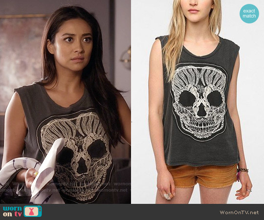 Truly Madly Deeply  Lace Skull Muscle Tee worn by Shay Mitchell on PLL