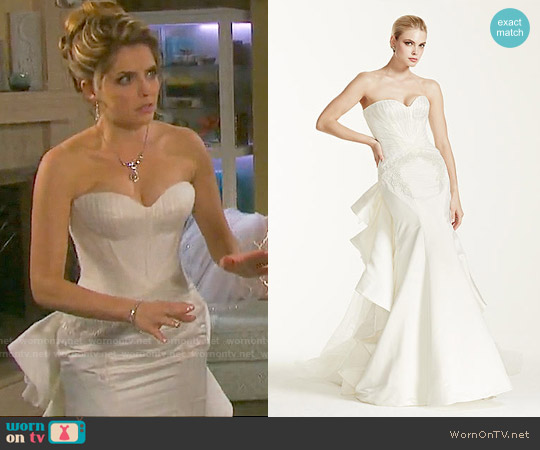 Truly Zac Posen Strapless Satin Wedding Dress worn by Jen Lilley on Days of our Lives