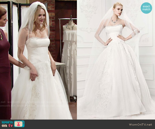 Truly Zac Posen Tulle Wedding Dress with Draping worn by Hunter King on The Young & the Restless