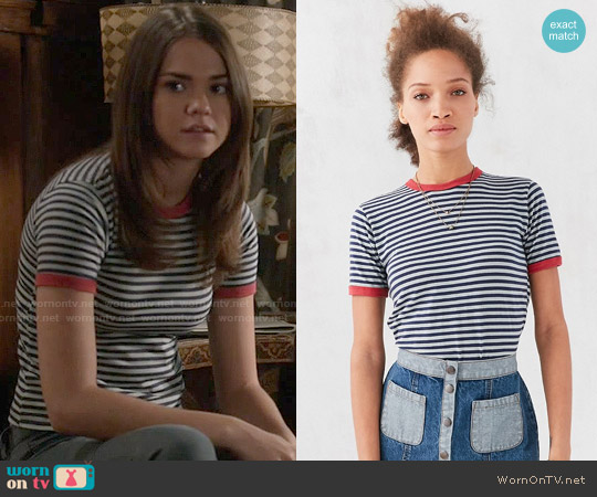 Truly Madly Deeply Jewel Stripe Ringer Tee worn by Maia Mitchell on The Fosters