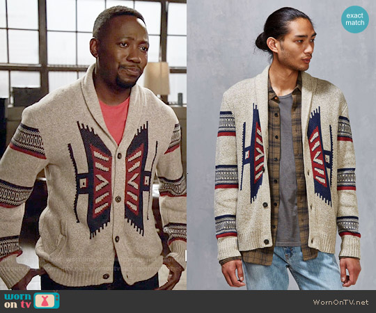 Urban Outfitters Koto Kikou Engineered Shawl Cardigan worn by Lamorne Morris on New Girl