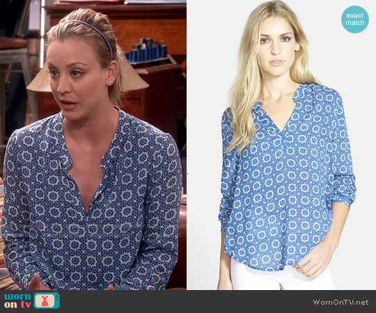 Velvet by Graham & Spencer Split Neck Challis Blouse worn by Kaley Cuoco on The Big Bang Theory