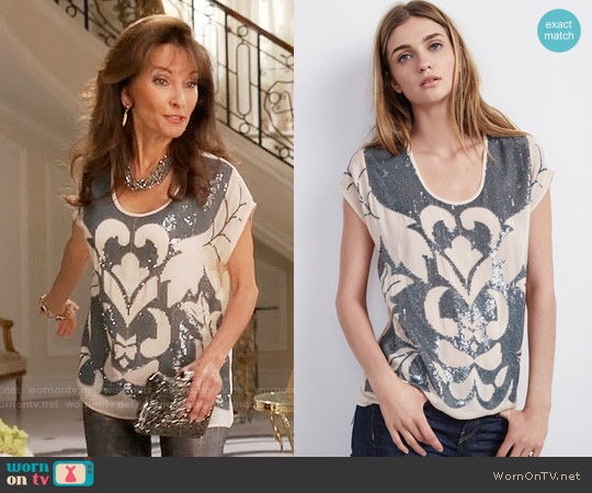 Velvet by Graham  & Spencer Antonina Sequin Top worn by Susan Lucci on Devious Maids