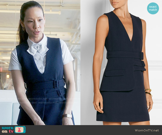 Victoria Beckham Belted Wool-crepe Mini Dress worn by Lucy Liu on Elementary