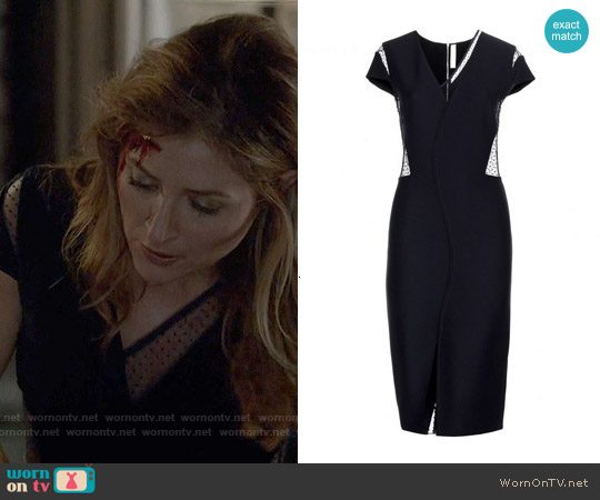 Victoria Beckham Crepe Swiss Dot Dress worn by Sasha Alexander on Rizzoli & Isles
