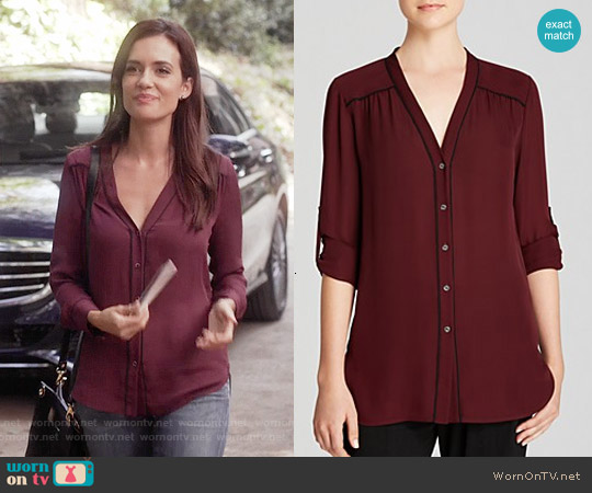 Vince Contrast Piping Blouse worn by Torrey DeVitto on PLL