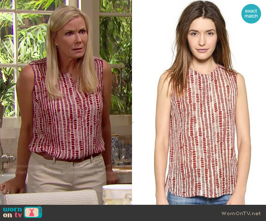 Vince Tribal Dot Silk Blouse worn by Katherine Kelly Lang on The Bold & the Beautiful