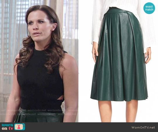 Wayf Faux Leather Pleat Skirt worn by Chelsea Lawson on The Young & the Restless