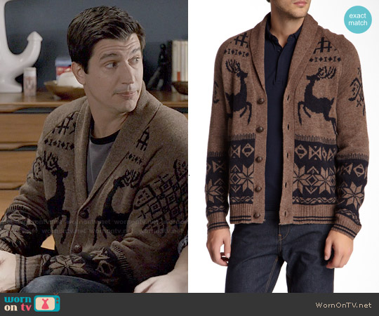 Weatherproof Jacquard Reindeer Wool Blend Cardigan worn by Ken Marino on Marry Me