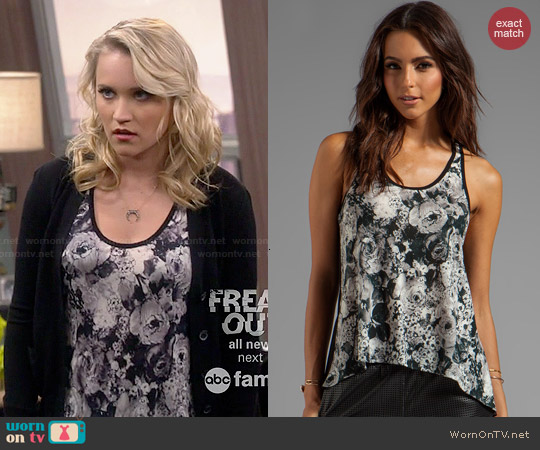 Whetherly Vintage Floral Owen Racerback Tank worn by Emily Osment on Young & Hungry