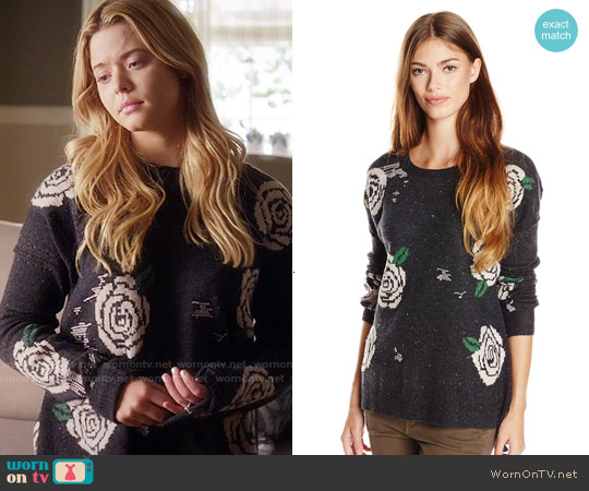 Wildfox Venice Canal Shredded Roses Sweater worn by Sasha Pieterse on PLL