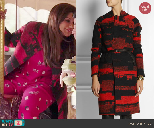 Zero+Maria Cornejo Otto reversible leather-trimmed jacquard coat  worn by Mindy Kaling on The Mindy Project