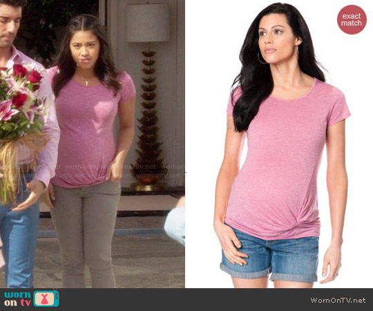 A Pea in the Pod Knot Front Maternity T Shirt in Pink worn by Gina Rodriguez on Jane the Virgin