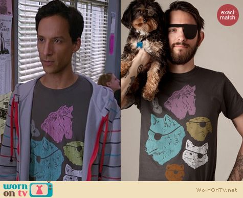 Abed's Tshirts on Community: Threadless 'Animals with eyepatches! Yes!' tee