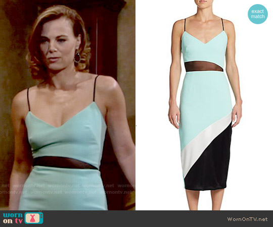ABS by Allen Schwartz Colorblock Midi Dress worn by Gina Tognoni on The Young & the Restless