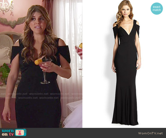 ABS Allen Schwartz Deep V Cold Shoulder Gown worn by Molly Tarlov on Awkward