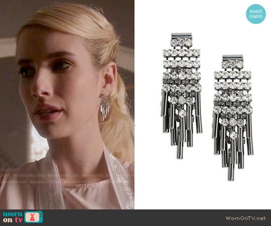 ABS Allen Schwartz Rhinestone Cluster Earrings worn by Emma Roberts on Scream Queens