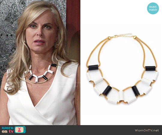 ABS by Allen Schwartz Black and White Tube Mesh Necklace worn by Eileen Davidson on The Young & the Restless