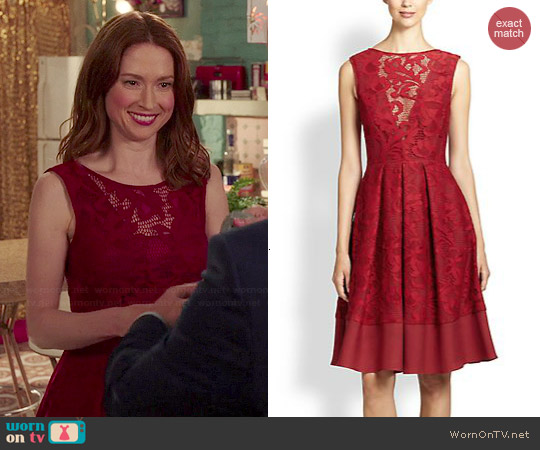 ABS Flared Lace Overlay Dress worn by Ellie Kemper on Unbreakable Kimmy Schmidt