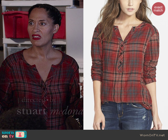 Ace Delivery Classic Plaid Henley worn by Tracee Ellis Ross on Black-ish