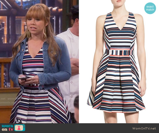 Adelyn Rae Stripe Jacquard Fit & Flare Dress worn by Amanda Fuller on Last Man Standing