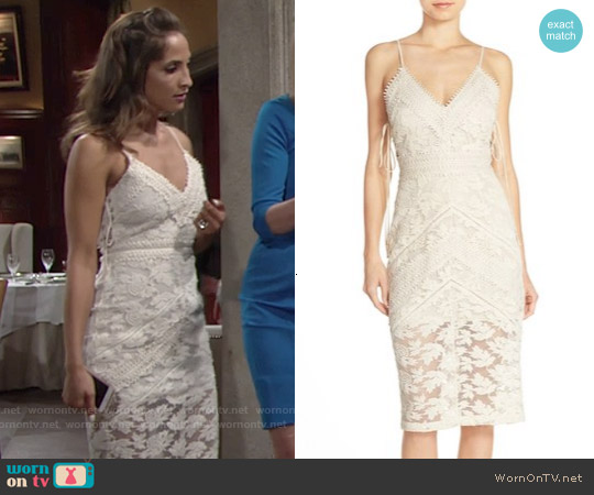 Adelyn Rae Tie Sides Lace Midi Sheath Dress worn by Christel Khalil on The Young & the Restless