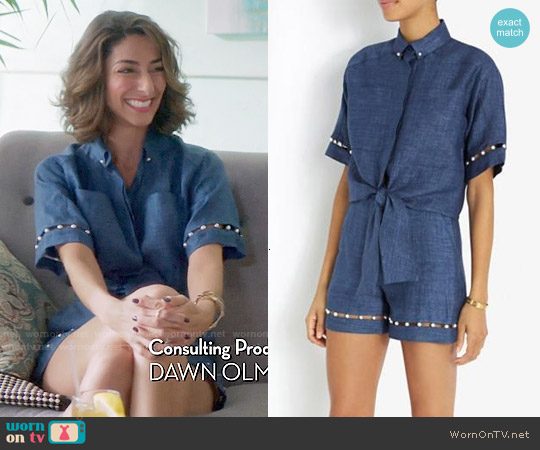 Adam Selman Pearl Embellished Shirt and Shorts worn by Necar Zadegan on GG2D
