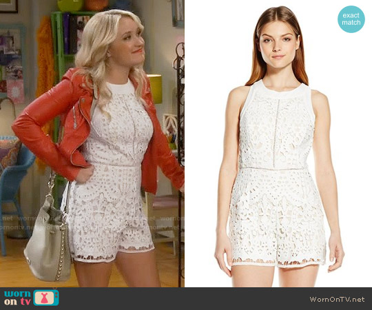 Adelyn Rae Eyelet Romper worn by Emily Osment on Young & Hungry