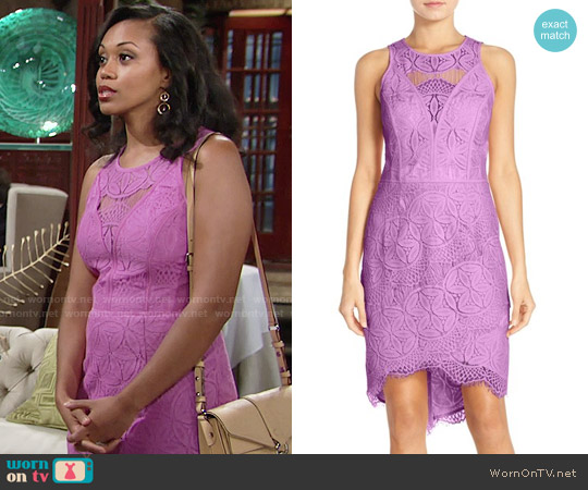 Adelyn Rae Lace High Low Sheath Dress worn by Mishael Morgan on The Young & the Restless