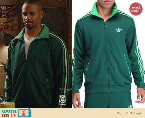 Adidas Split Stripe Firebird Track Jacket in Green worn by Damon Wayans Jr on New Girl