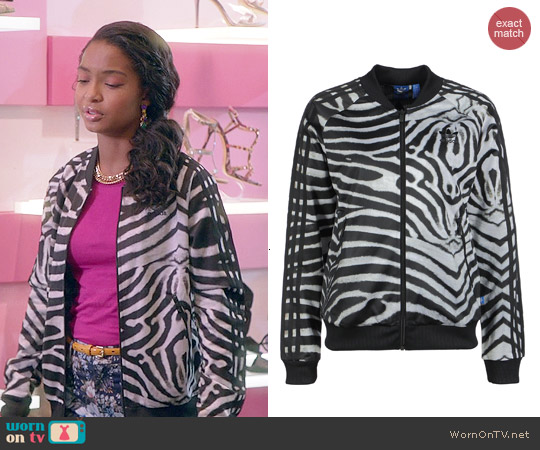 Adidas Supergirl Zebra Jacket worn by Yara Shahidi on Blackish