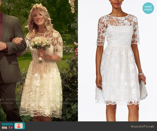 Adrianna Papell Short-Sleeve Floral-Embroidered A-Line Dress worn by Kaley Cuoco on The Big Bang Theory