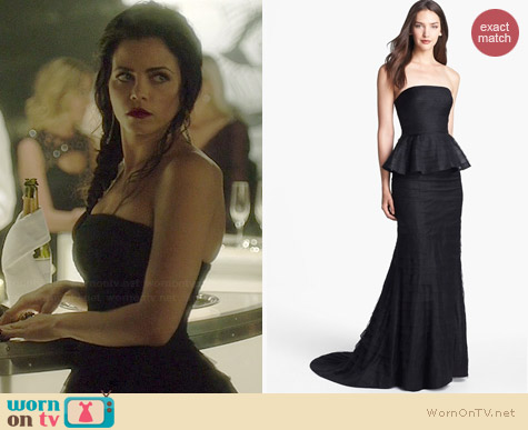 Adrianna Papell Shutter Pleat Mesh Peplum Gown worn by Jenna Dewan Tatum on WOEE