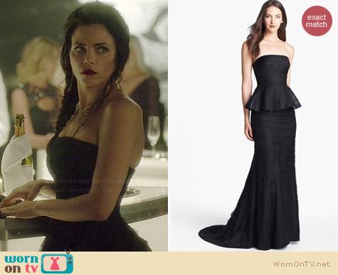 Adrianna Papell Shutter Pleat Mesh Peplum Gown worn by Jenna Dewan Tatum on WOEE