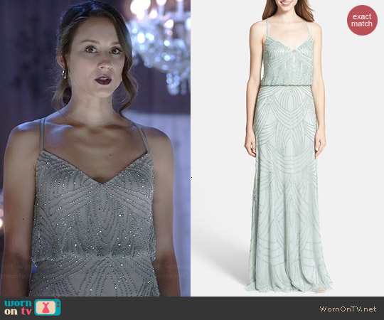 Adrianna Papell Beaded Chiffon Blouson Dress in Mist worn by Troian Bellisario on PLL
