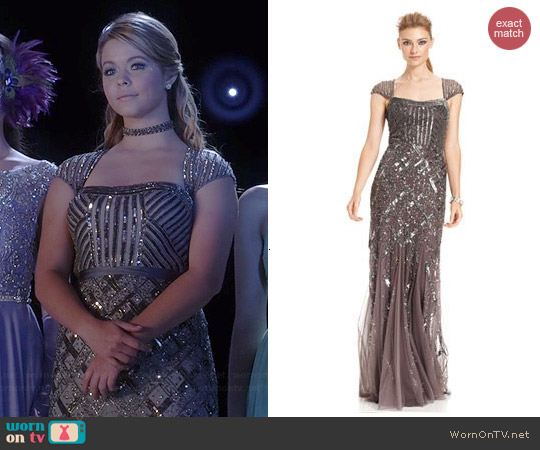 Adrianna Papell Cap-Sleeve Sequined Gown in Graphite worn by Sasha Pieterse on PLL