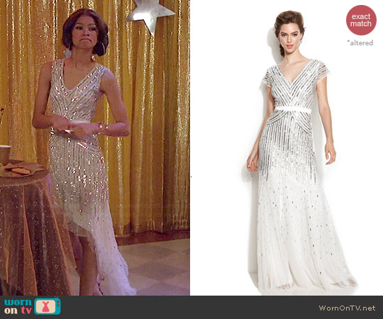 Adrianna Papell Cap Sleeve Sequin Gown worn by Zendaya on KC Undercover