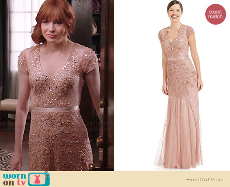 Adrianna Papell Embellished Cap Sleeve Gown worn by Karen Gillan on Selfie