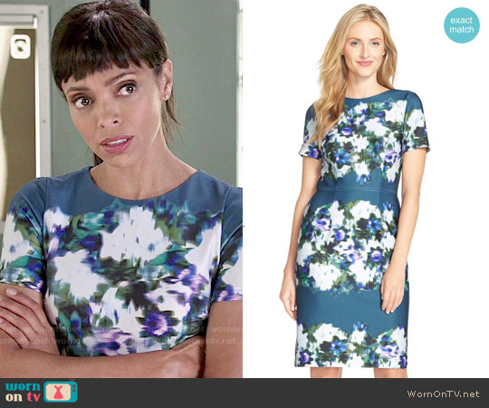 Adrianna Papell Print Scuba Sheath Dress worn by Tamara Taylor on Bones