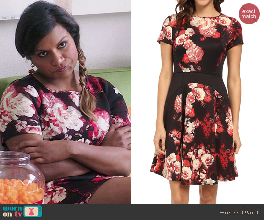Adrianna Papell Printed Scuba Color Block Dress worn by Mindy Kaling on The Mindy Project