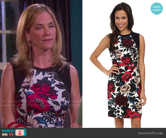 Adrianna Papell Floral Sleeveless Dress worn by Kassie DePaiva on Days of our Lives