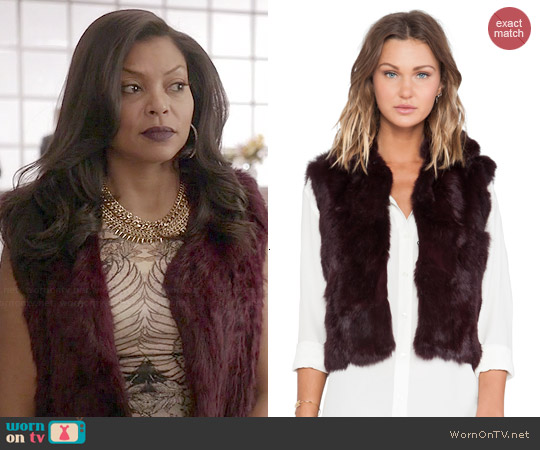 Adrienne Landau Textured Rabbit Fur Vest worn by Taraji P. Henson on Empire