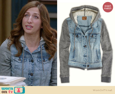 30e5c4ea1a WornOnTV  Gina s denim hooded jacket with grey sleeves on Brooklyn ...