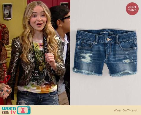 AE Destroyed Denim Midi Shorts worn by Sabrina Carpenter on Girl Meets World