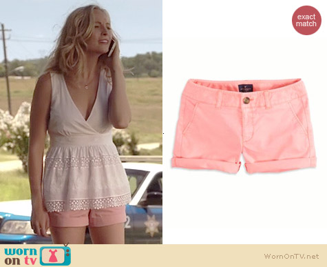 AEO Midi Shorts in Knockout Pink worn by Candice Accola on The Vampire Diaries