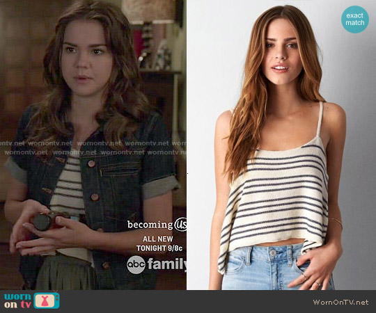 AEO Cropped Stripe Cami worn by Maia Mitchell on The Fosters