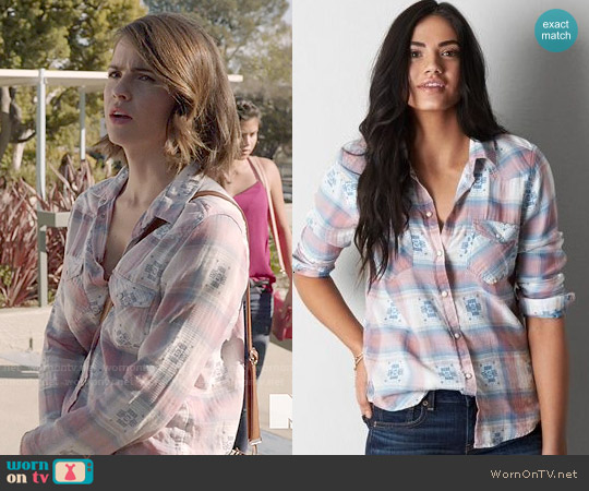 American Eagle Plaid Western Shirt in Peach worn by Shelley Hennig on Teen Wolf