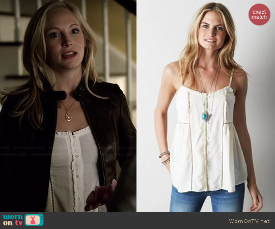 AEO Ruffle Trim Tank worn by Candice Accola on The Vampire Diaries