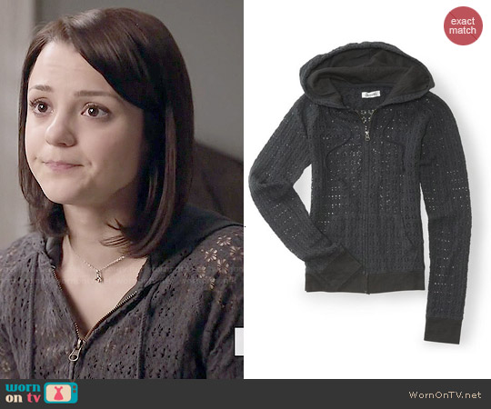 Aeropostale Crochet Full Zip Hoodie worn by Kathryn Prescott on Finding Carter