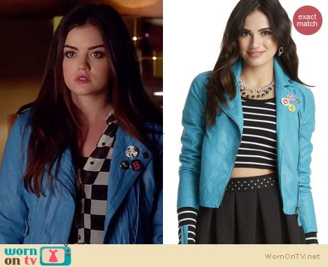 Aeropostale Blue Leather Jacket worn by Lucy Hale on PLL